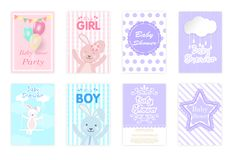 Set of baby shower cards, birthday card, greeting card cute cart vector illustration