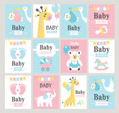 Set of baby shower cards. Royalty Free Stock Photos