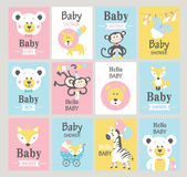 Set of baby shower cards. Vector illustrations vector illustration