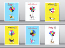 Set of baby shower cards,vintage color,poster,template,greeting cards,balloons,animals,dogs,Vector illustrations Stock Photos