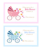 Set of Baby shower Greeting cards. Decorative Cards with baby invitation Royalty Free Stock Photography