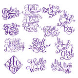 Set for Baby shower. Hand drawn phrases for design shower invitations, posters and cards stock illustration