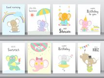 Set of baby shower and happy birthday invitations cards, poster, greeting, template, animals,elephant,cute,cartoons, Vector illust. Set of baby shower and happy vector illustration