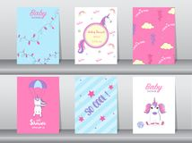 Set of baby shower invitation cards,birthday cards,poster,template,greeting,cards,cute,fantasy,unicorn,animal,Vector illustrations. Set of baby shower invitation Royalty Free Stock Photos