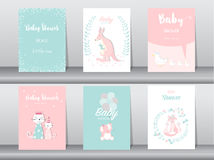 Set of baby shower invitation cards,birthday cards,poster,template,greeting cards,cute,kangaroo,cats,elephant,fox,animal,Vector il Stock Photo