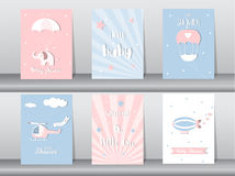 Set of baby shower invitation cards,birthday cards,poster,template,greeting cards,cute,plane,Vector illustrations Royalty Free Stock Photography