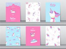 Set of baby shower invitation cards,birthday cards,poster,template,greeting,cards,cute,fantasy,unicorn,animal,Vector illustrations. Set of baby shower invitation Stock Photography