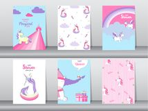Set of baby shower invitation cards,birthday cards,poster,template,greeting,cards,cute,fantasy,unicorn,animal,Vector illustrations. Set of baby shower invitation Stock Photos