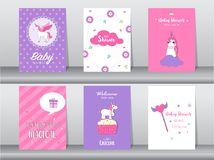 Set of baby shower invitation cards,birthday cards,poster,template,greeting,cards,cute,fantasy,unicorn,animal,Vector illustrations. Set of baby shower invitation Royalty Free Stock Images