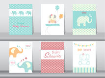 Set of baby shower invitation cards stock illustration