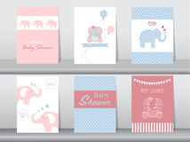 Set of baby shower invitation cards. Poster,template,greeting cards,animal,elephant Stock Images