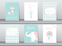 Set of baby shower invitation cards,poster,template,greeting cards,animal,Vector illustrations Stock Images