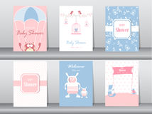 Set of baby shower invitation cards,poster,template,greeting cards,animals,cats,birds,Vector illustrations Royalty Free Stock Photography
