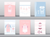Set of baby shower invitation cards,poster,template,greeting cards,baby clothes Stock Photos