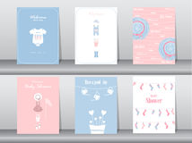 Set of baby shower invitation cards,poster,template,greeting cards,baby clothes,Vector illustrations Stock Images