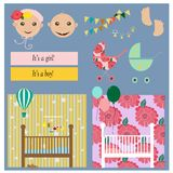 Set of baby shower invitation, greeting cards,poster, template. Vector illustrations Royalty Free Stock Photography