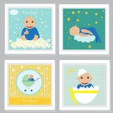 Set of baby shower invitation, greeting cards,poster. Vector illustrations Stock Photography
