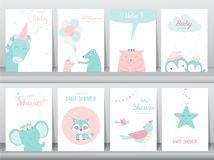 Set of baby shower invitations cards, birthday card, elephants, birds, poster, greeting, template, animals, zoo, Vector illustrati vector illustration