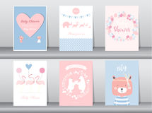Set of baby shower invitations cards,poster,greeting,template,animal,bear,flamingo,Vector illustrations Royalty Free Stock Images