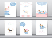 Set of baby shower invitations cards,poster,greeting,template,animals,dogs Royalty Free Stock Images