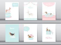 Set of baby shower invitations cards,poster,greeting,template,animals,dogs,Vector illustrations Stock Photos