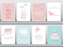 Set of baby shower invitations cards,poster,greeting,template,cakes,bottle,balloon,Vector illustrations Royalty Free Stock Images