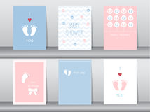 Set of baby shower invitations cards,poster,greeting,template,footprints,Vector illustrations Royalty Free Stock Image