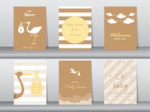 Set of baby shower invitations cards,poster,greeting,template,stork,Vector illustrations Stock Photography