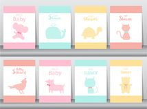 Set of baby shower invitations on paper cards, poster, greeting, template, animals,whale,birds,cats,bear, Vector illustrations. Set of baby shower invitations on vector illustration