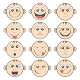 Set of baby smiley. Cute cartoon kids emoticon Royalty Free Stock Image