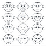Set of baby smiley. Cute cartoon kids emoticon. Outlined set of baby smiley with two teeth. Collection of cute cartoon litle kids emoticon. Funny children face Stock Photography