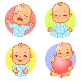 Set with baby stickers. Set of baby stickers, smiley, emoji. Baby cry, shout, smile, mediatate, hold heart. Baby boy with different emotions. Facial expression stock illustration