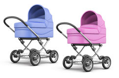 Set of baby stroller  on white background. 3d render ima Royalty Free Stock Photos