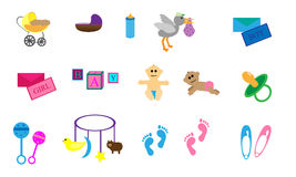 Set of Baby Theme Items. Collection of 15 items with a baby theme. Bassinet, pram, stork, baby boy, baby girl, foot prints, and toys Royalty Free Stock Photo