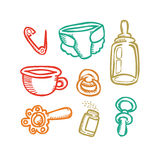 Set of baby things Royalty Free Stock Photos