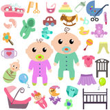 Set of baby toys and clothing. Happy child. Vector illustration of a flat design Royalty Free Stock Image