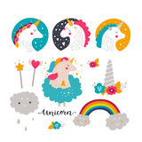 Set of baby unicorn and rainbow Stock Photo
