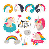 Set of baby unicorn and rainbow. Kids illustrations for design prints, cards and birthday invitations. Vector collection with cute unicorn, rainbow, flowers Royalty Free Stock Photography