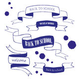 Set of back to school badges and ribbons  Royalty Free Stock Images