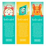 Set of back to school banners with alarm clock, book and backpack. Set of back to school banners with funny alarm clock, book and backpack vector illustration