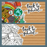 Set of back to school banners with old cardboard background. Stock Image