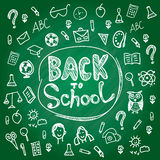 Set back to school. Blackboard chalk sketch. White vector illustration