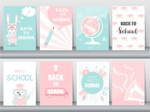 Set of Back to School card set, school kids, chalkboards, learning,animal,cool, Vector illustration. Set of Back to School card set, school kids, chalkboards stock illustration