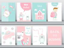 Set of Back to School card set, school kids, chalkboards, learning,animal,cool, Vector illustration. Set of Back to School card set, school kids, chalkboards royalty free illustration