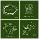 Set of Back to School Cards - Hand-Drawn. Vector Illustration Design Elements Royalty Free Stock Photography