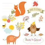 Set of back to school elements, vector illustrations Stock Photography