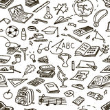 Set back to school. Hand drawn doodle set back to school. Seamless pattern. Vector illustration stock illustration