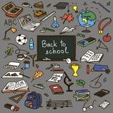 Set back to school. Hand drawn doodle set back to school. Vector illustration stock illustration