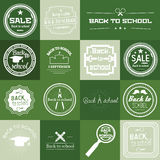 Set of Back to School Label On Green Background Royalty Free Stock Images
