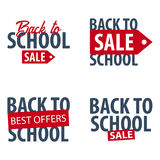 Set of Back to School logo or emblem. Sale and Best offers. Vector illustration. Stock Photo